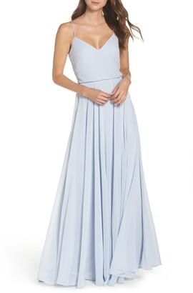 Jenny Yoo Inesse Blouson Chiffon A-Line Gown