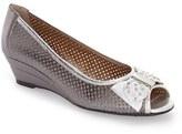 J. Renee Women's Dovehouse' Perforated Peep Toe Wedge