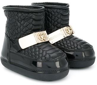 Roberto Cavalli Junior Crocodile Quilted Snow Boots