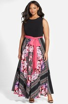 Eliza J Plus Size Women's Scarf Print Jersey & Crepe De Chine Maxi Dress