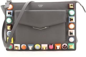 Fendi Front Pocket Crossbody Bag Studded Leather Small