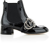 Miu Miu Women's Embellished-Buckle Patent Leather Chelsea Boots