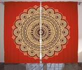 SCOCICI Mandala Decor Curtains Vintage Ornate Hypnotic Arabesque Shape with Floral Psychic Life Order Effects Living Room Bedroom Window Drapes 2 Panel Set Red Cream