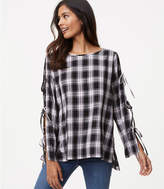 LOFT Plaid Tie Sleeve Tunic
