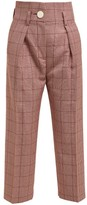 Petar Petrov Hasty Prince Of Wales-checked Wool-blend Trousers - Womens - Red Multi