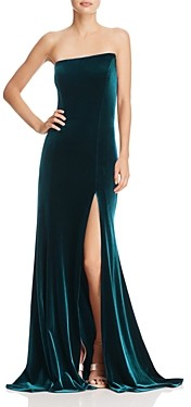 Aqua Asymmetric Strapless Velvet Gown - 100% Exclusive