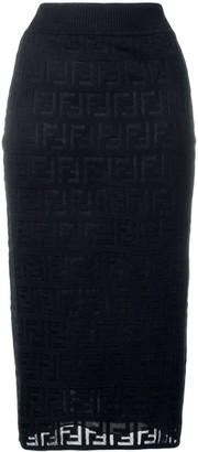Fendi FF pattern midi skirt