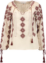 Chelsea Flower Embroidered cotton-gauze blouse