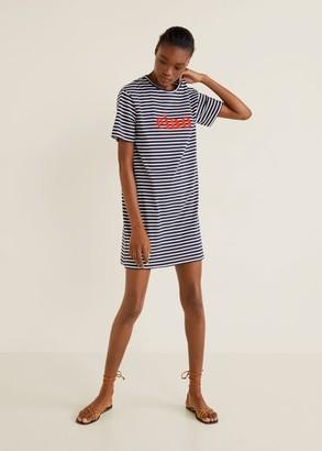 MANGO Message striped dress