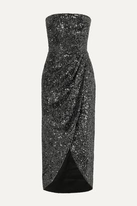 Rasario Strapless Draped Sequined Satin Dress - Gunmetal
