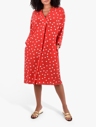 Live Unlimited Curve Polka Dot Cocoon Dress, Red