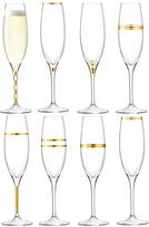 LSA International Deco Champagne Flutes, Set of 8, 225ml, Clear/Gold