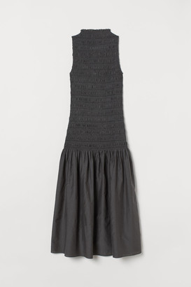 H&M Long Silk-blend Dress - Gray