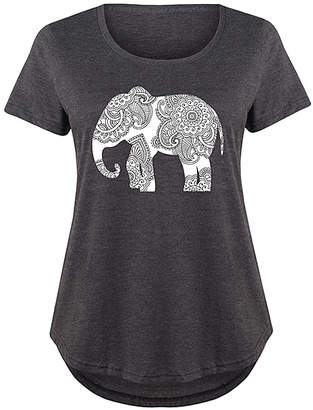 Instant Message Plus Women's Tee Shirts HEATHER - Heather Charcoal Henna Elephant Scoop Neck Tee - Plus