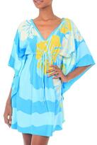 Hand Stamped 100% Rayon Caftan Dress with Floral Motif, 'Banyuwangi Blue'