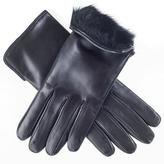 Black Ladies' Rabbit Lined Leather Gloves