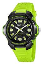 Calypso Unisex Quartz Watch with Black Dial Analogue Display and Green Plastic Strap K5635/3