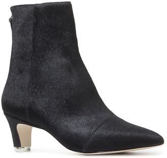 Black Suede Studio Sonia Fur Zip Ankle Booties