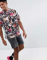 Asos x MTV Oversized T-Shirt With All Over Graffiti Print