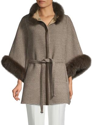 Wolfie Fur Made For Generation Fox-Fur Trim Wool & Cashmere Cape Jacket
