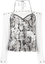 Kenzo halter hybrid top - women - Polyester/Triacetate/Viscose - 36