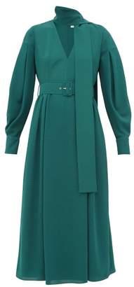 Emilia Wickstead Farnia Scarf Tie V Neck Crepe Midi Dress - Womens - Dark Green