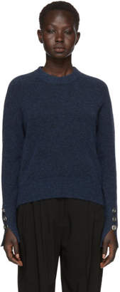 3.1 Phillip Lim Blue Inset Shoulder High Low Sweater