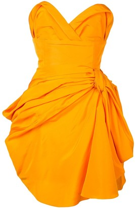 Carolina Herrera Strapless Draped Dress