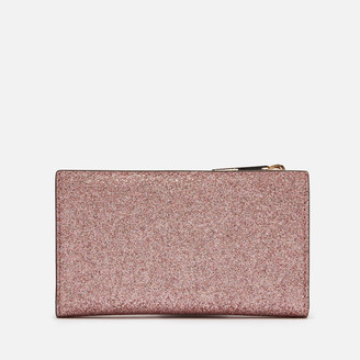 Kate Spade Women's Spencer Glitter Small Slim Bifold Wallet - Rose Gold