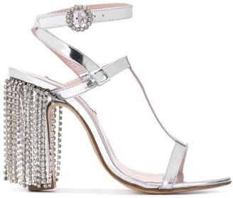 Leandra Medine T-strap sandals with rhinestones