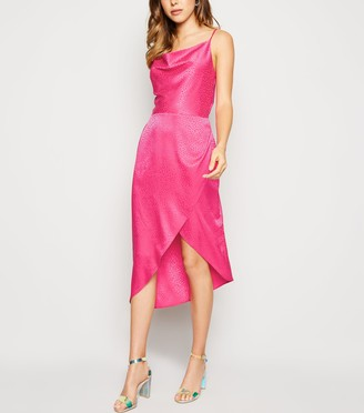New Look Bright Satin Spot Jacquard Midi Dress