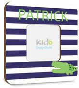 Kid o Alligator Madras Photo Picture Frame with Blue and White for Boys Bedroom, Personalized Nursery Bedroom Gift, Personalized Photo Frame for Nursery