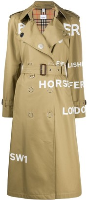Burberry Text-Print Trench Coat