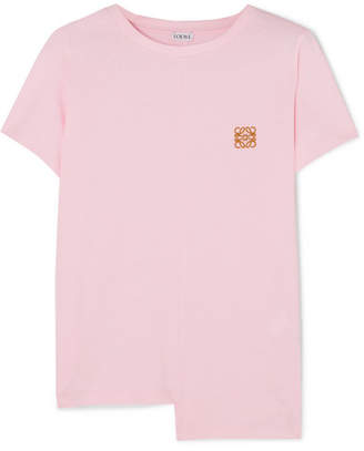 Loewe Asymmetric Embroidered Cotton-jersey T-shirt - Pink