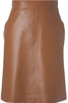 Valentino Bronze Leather A-Line Skirt