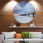 DESIGNART Design Art Long Concrete Pier into Sea Ultra Vibrant Sea Bridge Metal Circle Wall Art