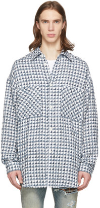 Faith Connexion Blue and White Tweed Oversized Shirt