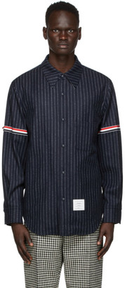 Thom Browne Navy Stripe Armband Snap Front Jacket