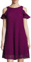 Taylor Cold-Shoulder Lace Trapeze Dress, Raspberry
