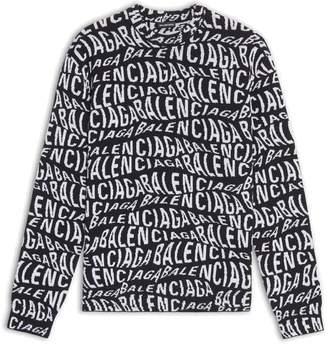 Balenciaga Logo Wave Sweater - Long Sleeves