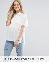 Asos Longline Short Sleeve Blouse with Pockets