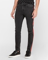 Express Victor Oladipo Slim Black Ripped Striped Hyper Stretch Jeans