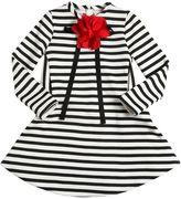 Simonetta Stripes Cotton Dress W/ Flower & Bow Pin