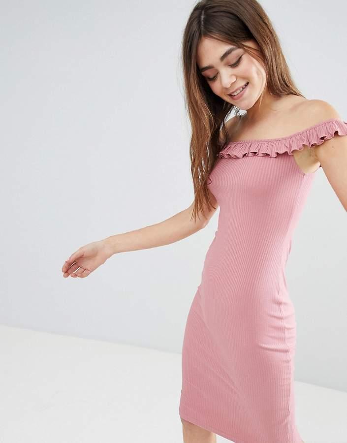 Asos Design Bardot Frill Midi Rib Dress