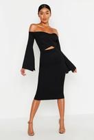 boohoo Bardot Split Sleeve Rib Bodycon Midi Dress