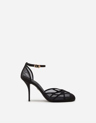 Dolce & Gabbana Ankle Strap Sandals In Mesh And Grosgrain