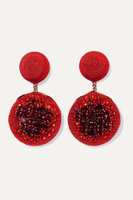 Rebecca De Ravenel Pomegranate Gold-plated, Cord And Crystal Clip Earrings