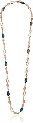 Anne Klein Women's Gold Tone Green Stone Strand Necklace