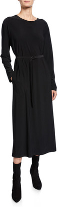 Norma Kamali Boyfriend Crewneck Long-Sleeve Mid-Calf Dress