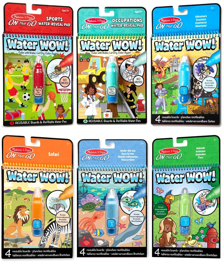 On The Go Water Wow Color With Water Activity Pad 6 Pack Sports Occupations Adventure Safari Under The Sea Animals